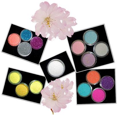 Irisierende Glitter funkeln je nach Lichteinfall in vielen verschiedenen schönen Regenbogenfarben.
