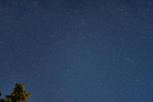 Die ersten schwachen Perseiden (Sternschnuppen, Meteorschauer) in der Nacht vom 06. auf den 07.08.2018
