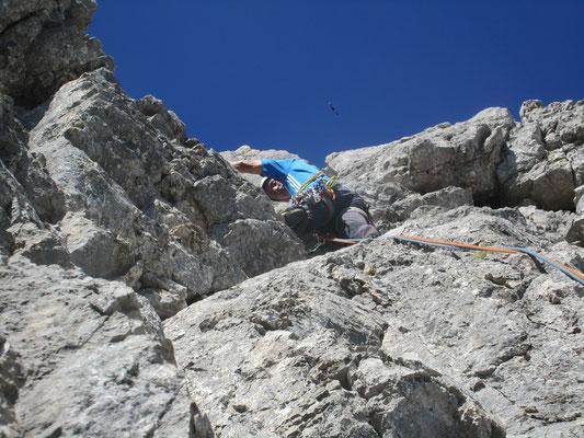 5. SL, beim Überstieg ins leichtere Gelände