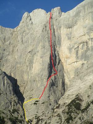 Der ungefähre Routenverauf (gelb: Zustieg)