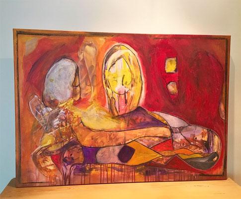 """Zyklus Versteckte Dimensionen """"Die Mädchen und der Harlekin"""", 100x70, Bild wird im Buch gezeigt"""