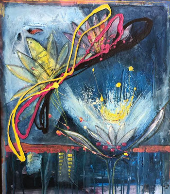 """Lotusblüte"" Acryl auf Leinwand, 70 x80"