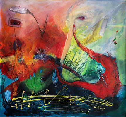 """""""Fantasyflower 3"""" ca. 105 x 105, Acryl auf Wachstuch"""