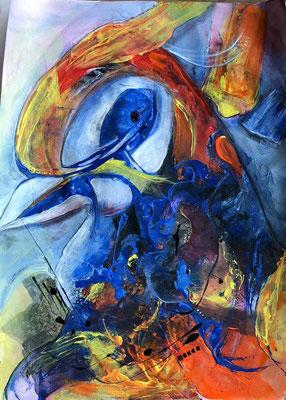 Krafttier Vogel auf Papier ca. 52 x 42 Acryl