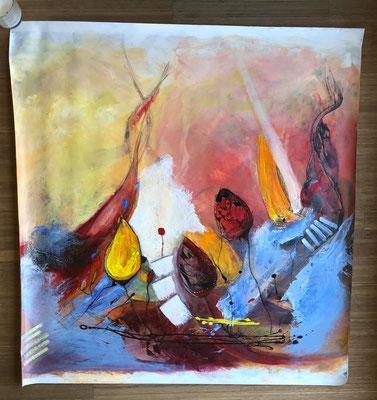 """""""Fantasyflower 1 ca. 105 x 105, Acryl auf Wachstuch"""