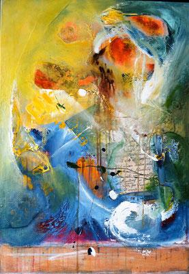 """""""Wild stormes"""" 70x100 Collage Acryl auf Leinwand, verkauft"""