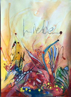 """Liebe"" auf Papier, ca. 52 x 42, Acryl"