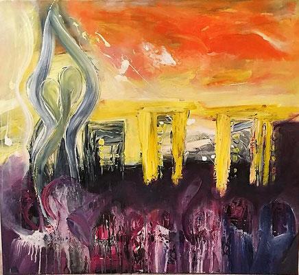 """Angst ist eine Illusion"" Acryl auf Leinwand 100x80"