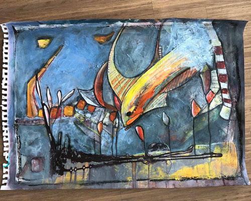 """""""Unterwasserwelt"""" auf Papier ca. 52 x 42, Acryl"""