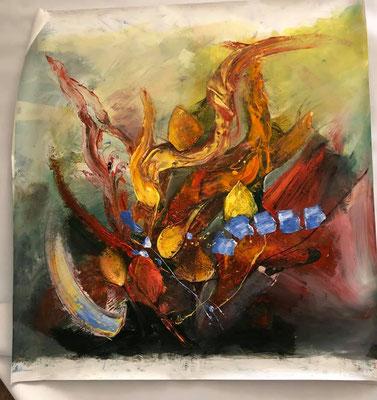"""""""Fantasyflower 2 ca. 105 x 105, Acryl auf Wachstuch"""