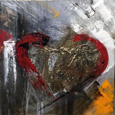 """""""Weilst a Herz hast wie ein Bergwerg..."""" 60x60 mixed medi auf Leinwand, sold"""