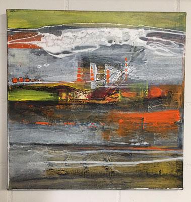 """abstract landscape "" 40x40 mixed media auf Leinwand"