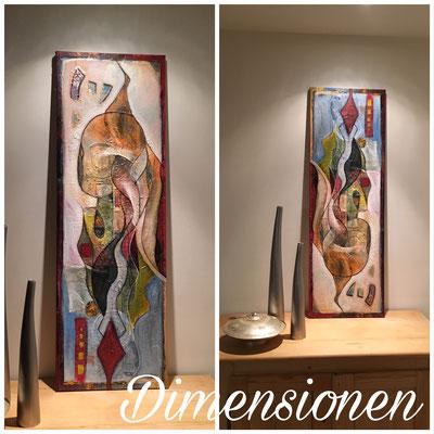 """Zyklus Versteckte Dimensionen """"Leben in mehreren Dimensionen"""", 40x120, Bild wird im Buch gezeigt"""