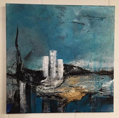 """abstract landscape 4"" 40x40 mixed media auf Leinwand"