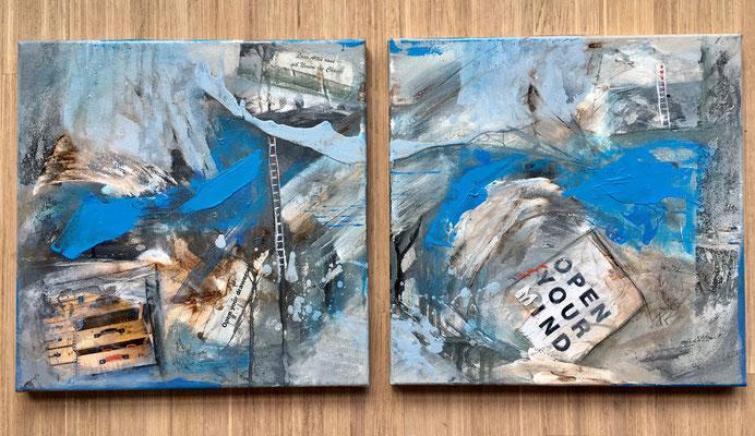 Energiebilder Collage auf Leinwand 2018 - Bild links verkauft