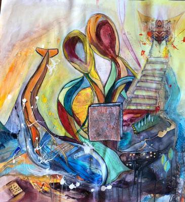 Visionsbild auf Leinwandstoff ca. 90 x 100
