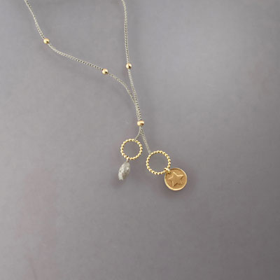 Collier, grauer Diamant, 750er Gold