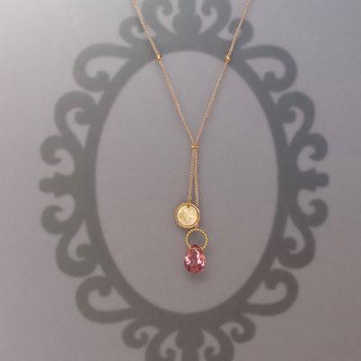 Collier, 750er Gold, Turmalin, geprägter Stern, Polyestergarn