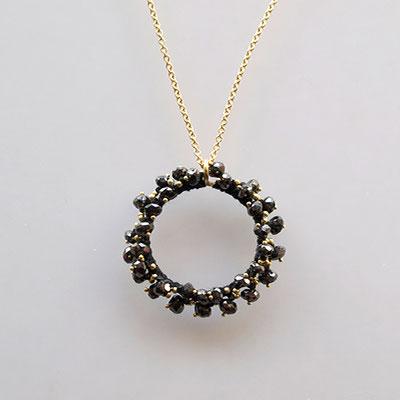 Collier, 750er Gold, Kreis, schwarze Diamanten