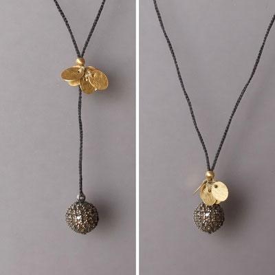 variables Collier, Plättchen, 750er Gold, Silberkugel mit Diamanten