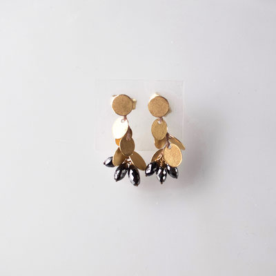 Ohrstecker, Plättchen, 750er Gold, schwarze Diamanten