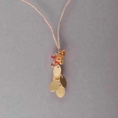 Collier, 750er Gold, orangefarbige Saphire, Polyestergarn