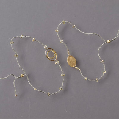 Armbänder, 750er Gold, cognacfarbige Diamanten, Polyestergarn