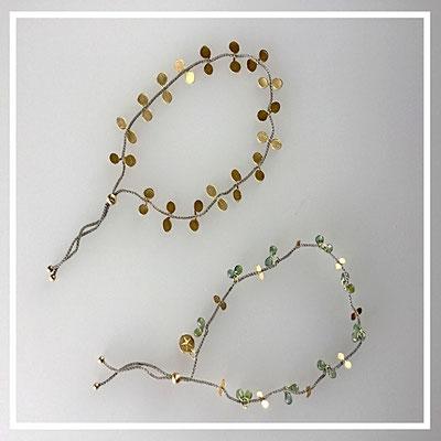 Armbänder 750er Gold, Saphire, Polyestergarn
