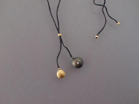 Collier, 750er Gold, geschwärztes Silber, Diamant