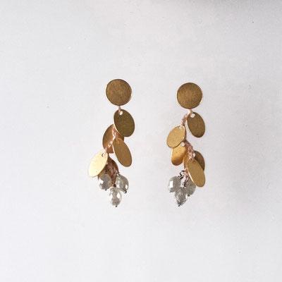 Ohrstecker, Plättchen, 750er Gold, graue Diamanten