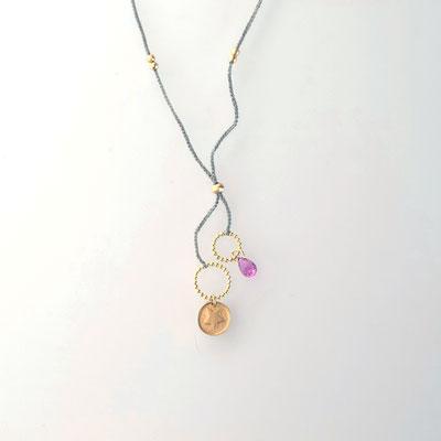 Collier, 750er Gold, rosa Saphir