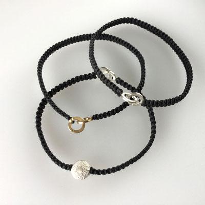Armband, Makramee, 750er Gold, Silber