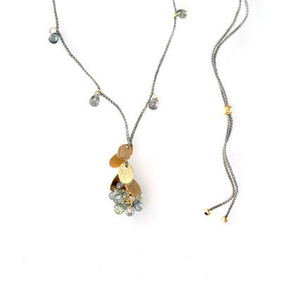 Collier, Plättchen 750er Gold, Saphire