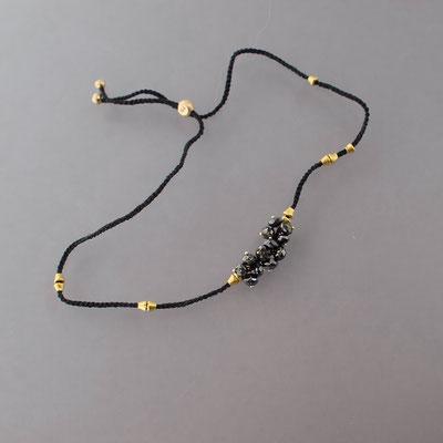 Armband, schwarze Diamanten, 750er Gold, verhäkelt mit Polyestergarn