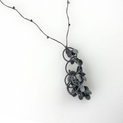 Collier, geschwärztes Silber, schwarze Diamanten