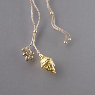Collier, 750er Gold, Buddha, Diamanten,  Polyestergarn