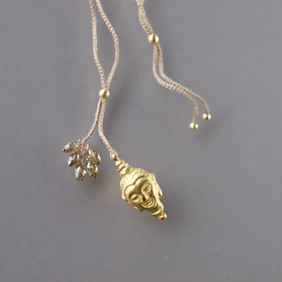 Collier, 750er Gold, Buddha, Diamanten,  Polyestergarn