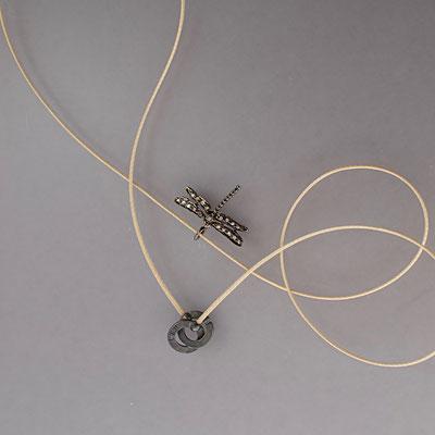 Collier, Libelle, geschwärztes Silber, Diamanten