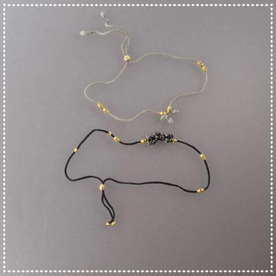 Armbänder, schwarze bzw. graue Diamanten, 750er Gold, verhäkelt mit Polyestergarn