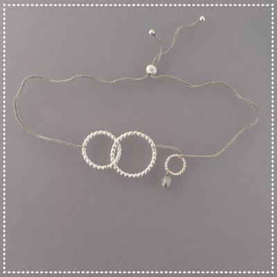 Armband, Silber, Kreise, grauer Diamant