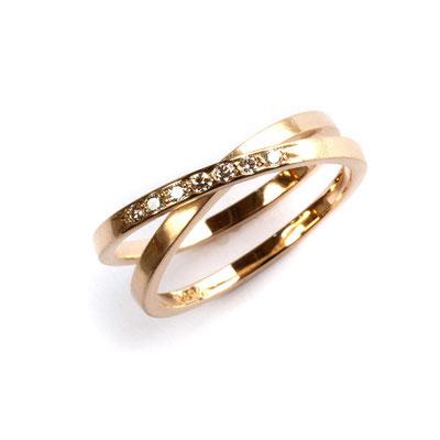 Ring 750er Gold, 2fach, Brillanten