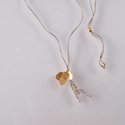 variables Collier, Plättchen, 750er Gold, graue Diamanten