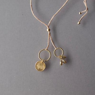 Collier, 750er Gold, Diamanten, geprägter Stern, Polyestergarn
