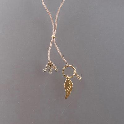 Collier, 750er Gold, Diamanaten, Flügel, Polyestergarn