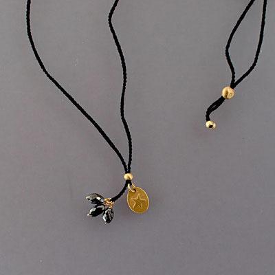 Collier, schwarze Diamanten, 750er Gold, verhäkelt mit Polyestergarn, variabel