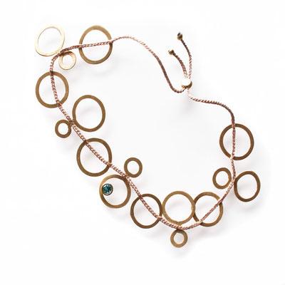 Armband Kreise, 750er Gold, Turmalin