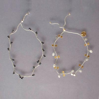 Armbänder, schwarze und graue Diamanten,  750er Gold