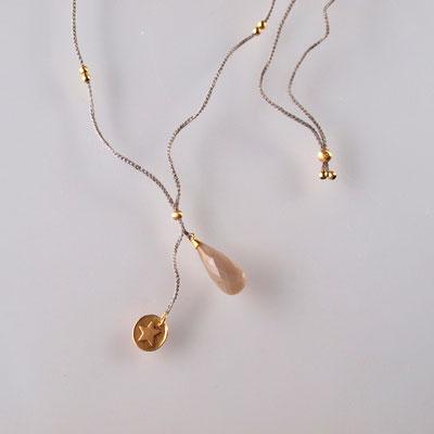 Collier, Mondstein, 750er Gold, Polyestergarn