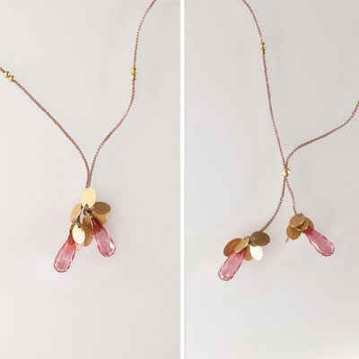 variables Collier, Plättchen, 750er Gold, rosa Topase