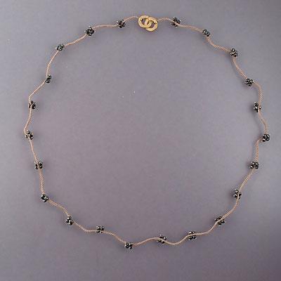 Collier, schwarze Diamanten, 750er Gold, verhäkelt mit Polyestergarn